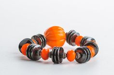 Halloween Bracelet Pumpkin Black Orange Chunky by DevikaBox, $25.00