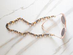 Veronica DeOre tortoise brown chain statement eyewear jewerly // croakies // sunglasses straps // tortoise shell // glasses