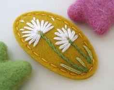 Felt Hair Clip -No Slip -Wool Felt -Dandelion -mustard