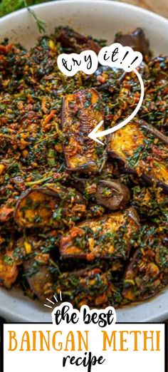 Baingan Methi Recipe Baingan Methi is a delicious everyday Indian sabji made using eggplant and fenugreek leaves. It's easy to make and tastes delicious. Here is how to make baingan methi recipe. Brinjal Recipes Indian, Indian Eggplant Recipes, Indian Veg Recipes, Eggplant Dishes, Baigan Recipes, Methi Recipes, Cooking Recipes, Healthy Recipes, Veg Food Recipes