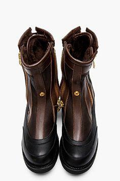 SASQUATCHFABRIX Black & Brown Leather Digable Planets Boots