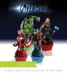 Avengers Cupcake Toppers Hulk Iron Man Captain by CreativeTouchhh