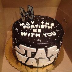 Star Wars Fortieth Birthday Cake with dark chocolate ganache!