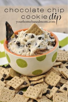 Chocolate Chip Cookie Dip @yourhomebasedmom.com- vegans use vegan cream cheese and vegan butter