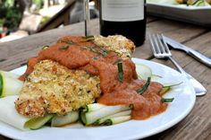 """Paleo """"Parmesan"""" Chicken - I'm subbing quinoa pasta for the zucchini and adding a tiny bit of raw cheddar. Healthy Living Recipes, Raw Food Recipes, Primal Recipes, Paleo Food, Yummy Recipes, Free Recipes, Healthy Food, Cooking With Red Wine, Fed And Fit"""