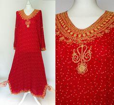 Plus size red vintage beaded Kaftan/ by VintageVanillaShop on Etsy