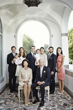 Official Family portrait of the whole Swedish Royal Family.