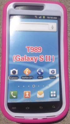 Samsung Galaxy S II Pink/White Hard Case Cover with Kick Stand for T-Mobile Only FREE SHIPPING!!
