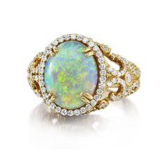 18K Yellow Gold Australian Opal and Diamond Ring #opalsaustralia