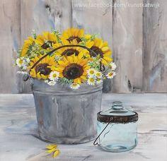 Bucket with sunflowers, acrylic 40x40x5 cms