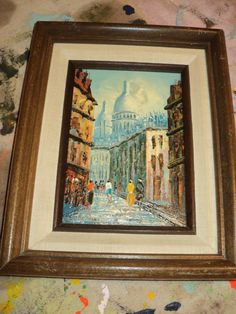 Vintage  Euro Street Scene, An Original  Oil Painting on Canvas Board with pedestrians on a boulevard in Great Condition