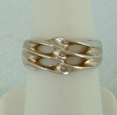 TH Signed Sterling Silver Band Ring Openwork Woven Waves Size 6.5 Vintage