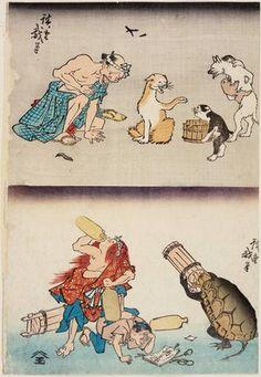 Utagawa Hiroshige: Sick Man and Dogs (above); Turtle and Shojo Stealing Sake (below) - Museum of Fine Arts