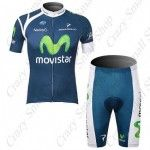 2012 Tour de France Movistar team cycling jersey suit  Includes cycling jersey + cycling shorts  Especially designed for training and match use  With a chamois leather patch inside the shorts in the crotch area  Reduces chafing from the bicycle saddle  Has three pockets in the back of the clothes for carrying water bottle, very convenient  Material: 100% polyester (clothes); 80% polyester + 20% spandex (pants)  Add 20% Spandex material in the pants