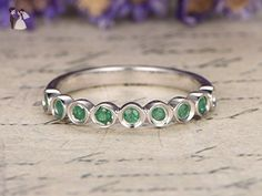 Emerald Wedding Band, Solid 14k White Gold Engagement Ring, Anniversary Stacking Ring, Half Eternity Wedding Band Set - Wedding and engagement rings (*Amazon Partner-Link)