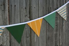 Baylor Green and Gold Fabric Bunting