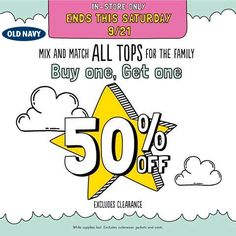 Pinned September 21st: Second shirt 50% off today at #Old Navy #coupon via The Coupons App