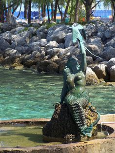 The Mermaid statue  on Coco Cay in the Bahamas