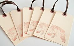 Horse Tags  Horse Portrait  Manila and Brown by PaperWondersShop