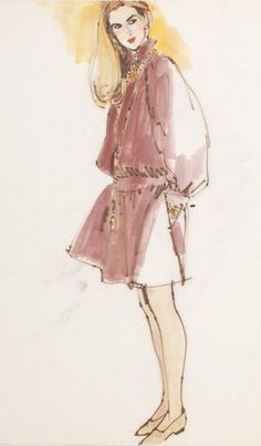 Fashion illustration by Fred Greenhill (1925-2007), Untitled.