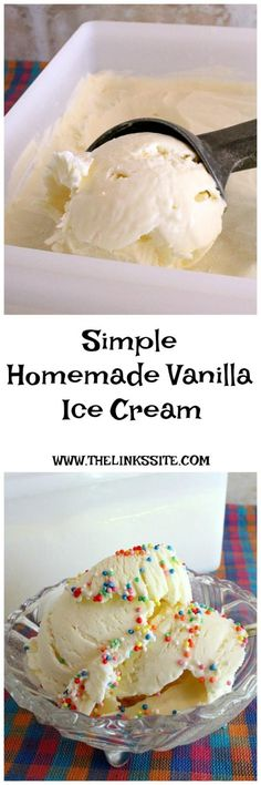 This vanilla ice cream is very quick and easy to make, requires only 3 ingredients, and is delightfully rich and creamy! thelinkssite.com #homemadeicecream #vanillaicecream
