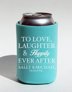 12 Custom Wedding Koozies To Love Laughter and by BeBopProps, $45.00 ... https://www.kooziez.com/to-love-laughter-and-happily-ever-after/#koozies provide the perfect party favor for any wedding, graduation party, bachelorette party, etc
