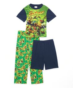 Look at this Green & Blue Teenage Mutant Ninja Turtles Pajama Set - Boys on #zulily today!
