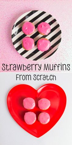 I wanted to make something with strawberries for Valentine's Day and here they are! The muffins don't need the icing, but it sure made them...