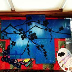 Flowers, Multi-canvas Artist: Emily Folino Medium: Spray paint and acrylic paint