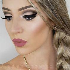 Gray black cut crease eye makeup, rosey lips