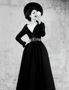 Dior. Abandon dress in black wool, Haute Couture Fall-Winter collection 1948-1949. Marion Cotillard shoot by Jean-Baptiste Mondino