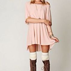 Wool high knee socks! Plus dress is pretty and looks so comfortable. Plus i have brown boots but these with the ties on front have way more character than most. Perfect outfit for a bonfire/fall dinner date ectttt