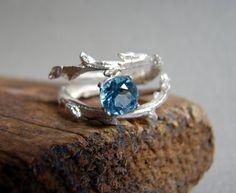 Swiss Blue Topaz Double Twisted Branch Elvish Twig  Ring Organic Jewelry December Birthstone