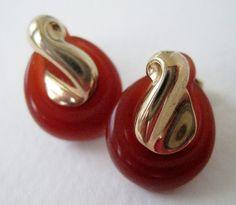 Vintage 70s Boho Rustic Signed Avon Convertible Goldtone Amber Colored Earrings by ThePaisleyUnicorn on Etsy, $3.00