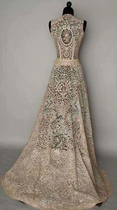 Vintage Belgian lace wedding dress. So beautiful