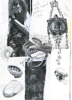 Jewellery Design Sketchbook - rock n' roll theme; jewelry drawings  design development