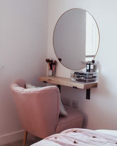 I'm really pleased with how my little space saving dressing table has turned out! We have spent the day decorating, hanging lights and… Bedroom Decor For Couples, Room Ideas Bedroom, Diy Bedroom Decor, Decor Room, Home Decor, Bedroom Ideas For Small Rooms Women, Space Saving Bedroom, Couple Bedroom, Tv Decor