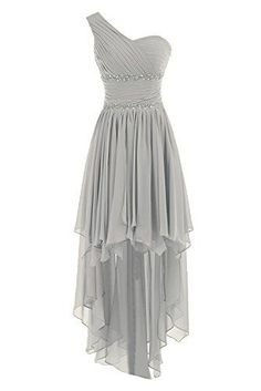 2015 High Low One Shoulder Silver Grey Chiffon Bridesmaid Dresses Homecoming Gowns Prom Evening Dress Sweet 16 Gown
