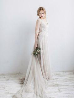 Shop Affordable Long Sleeve V Neck Illusion Tulle Weddig Dress With Beading At Junebridals Over 8000 Chic Wedding Bridesmaid Prom Dresses More Are On