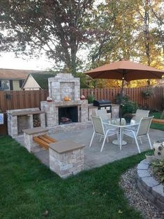 Backyard Ideas Discover Pavestone RumbleStone 84 in. Outdoor Stone Fireplace in Sierra - T Pavestone RumbleStone 84 in. Outdoor Stone Fireplace in Sierra Blend Backyard Fireplace, Fire Pit Backyard, Fireplace Outdoor, Outdoor Fireplace Designs, Stone Backyard, Simple Fireplace, Fireplace Mantles, Diy Fire Pit, Patio Ideas With Fireplace