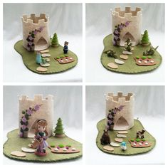 Purple Rose Castle Playscape wool felt play mat imagination play storytelling storybook fairytale dollhouse peg doll princess imagination