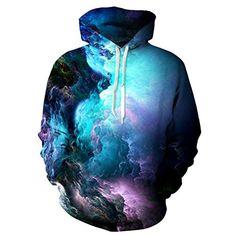 Uideazone 3d Nebula Star Cluster Pullover Hooded Sweatshirt Cool Hoodie Teen Boys galaxy22 Medium
