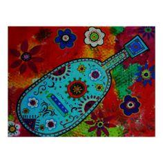 Folk Art Mexican Guitar Painting