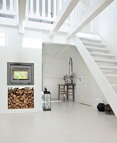 White walls, floors, and stairs
