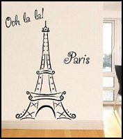Eiffel Tower Ooh La La Paris 6ft tall wall mural sticker decal-fun wall decorations paris theme bedrooms