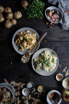 kimchi potato salad (& regular potato salad too) | two red bowls