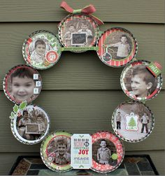 "Christmas Photo Wreath using Maya Road's 12"" Bottle Caps and Echo Park's This & That Christmas"