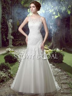 Ivory Mermaid Tulle Lace Sweep Train Jewel Sleeveless Wedding Dress - US$ 134.99 - Style W2596 - Snowy Bridal