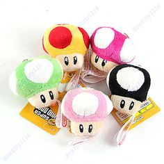 "2,5"" - 360 Ft - kiságy forgóhoz 1 PC Super Mario Bros Mushroom Plush Doll Keychain Decoration Pendant Soft Toy"