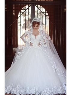 Long Sleeves Lace Tulle Ball Gown Wedding Dresses Bridal Gowns 99603085